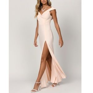 TOBI GINA CHAMPAGNE OFF SHOULDER MAXI DRESS